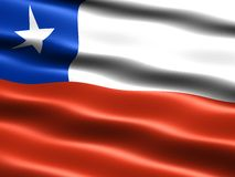 Flag of Chile. Computer generated illustration with silky appearance and waves Royalty Free Stock Photos