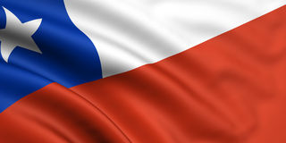 Flag Of Chile. 3d rendered and waving flag of chile