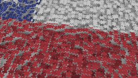 Flag of Chile being made with jigsaw puzzle pieces. Chilean problem solution conceptual 3D rendering. Flag made of puzzle pieces, conceptual 3D vector illustration