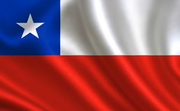 Flag of Chile. Part of the series. Chilean flag blowing in the wind Stock Photography