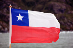 Flag of Chile in Patagonia. Flag of Chile at the San Rafael Lagoon, Patagonia Chile Royalty Free Stock Images