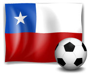 The flag of Chile with a soccer ball Stock Image