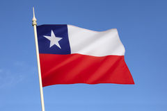 Flag of Chile - South America. The national flag of Chile was adopted on 18 October 1817. The Chilean flag is also known in Spanish as La Estrella Solitaria Royalty Free Stock Photography
