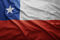 Flag of Chile. Waving colorful national Chilean flag Stock Photos