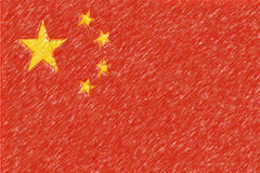 Flag of China background o texture, color pencil effect. Royalty Free Stock Images