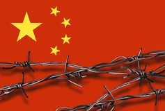 Flag of China with barbed wire Royalty Free Stock Photography