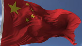 Flag of China. Blowing on the wind, close up looped slowmotion stock video