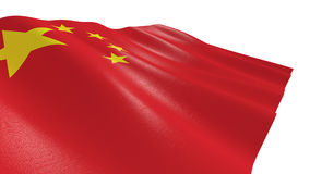Flag of china. Close-up view of the flag of china on white background 3d render vector illustration