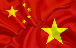 Flag of China and flag of Vietnam. On woven fabric texture Stock Photography