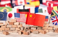 China as economic and political power. Flag of China in front of flags of many other countries as a symbol of its economic and political power stock image