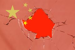 Flag of China on glass. Flag of China on a on glass breakage vector illustration