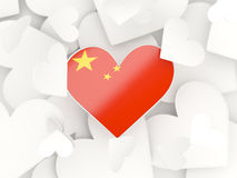 Flag of china, heart shaped stickers. Background. 3D illustration Stock Photo