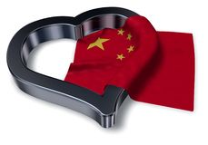 Flag of china and heart symbol. 3d rendering Royalty Free Stock Photo