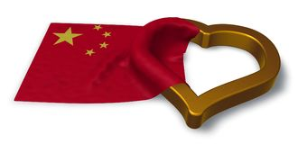 Flag of china and heart symbol. 3d rendering Royalty Free Stock Image