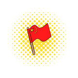 Flag of China icon in comics style Stock Images
