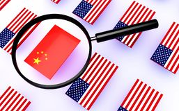 Flag of china. And magnifier royalty free illustration