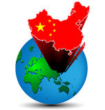 Flag China map on the earth Stock Photos