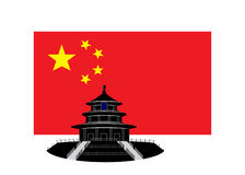 Flag of China. A flag of China red with yellow stars and a temple silhouette royalty free illustration