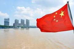 Flag of China on the river, Nanjing Royalty Free Stock Image