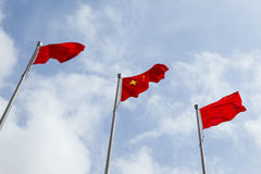 Flag of China and three poles Royalty Free Stock Image
