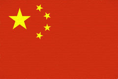Flag of China Wall. Illustration of the flag of China looking like it is painted onto a wall Royalty Free Stock Photo