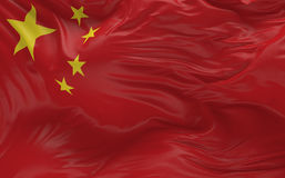 Flag of the China waving in the wind 3d render Stock Photography