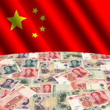 Flag with Chinese yuan. Rippled flag with Chinese yuan globe illustration Stock Photography