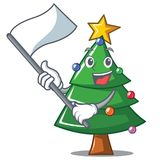 With flag Christmas tree character cartoon. Vector illustration Stock Image