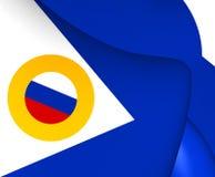 Flag of Chukotka Autonomous Okrug, Russia. Close Up Royalty Free Stock Photo