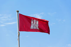 Flag of the City of Hamburg, Germany, fluttering in the wind aga Stock Photography