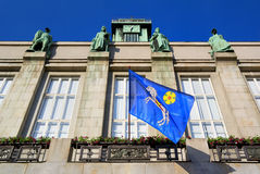 Flag with city's heraldic coat of arms of Ostrava, New Town city hall. Viewing tower of the New Town city hall (Nova radnice), Ostrava, Czech Republic / Czechia stock photo