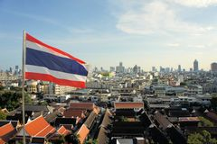 Flag with Cityscape in urban Bangkok,capital of Royalty Free Stock Photos