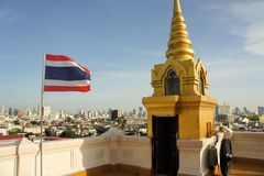 Flag with Cityscape in urban Bangkok,capital of Stock Photo