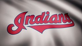 USA - NEW YORK, 12 August 2018: Flag of the Cleveland Indians, american professional baseball team - loop. Waving flag. Flag of the Cleveland Indians, american stock photography