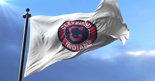 Flag of the Cleveland Indians, american professional baseball team - loop. Flag of the team of the Cleveland Indians, american professional baseball team, waving stock video