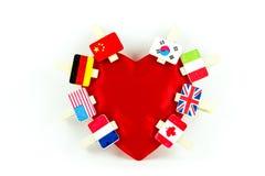 Flag clips on an heart Stock Photography