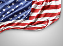 Flag. Closeup of American flag on grey background Stock Photography