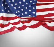 Flag. Closeup of American flag on grey background Royalty Free Stock Photography
