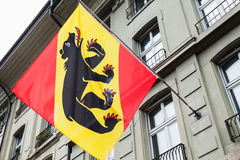Flag with coat of arms, Bern, Switzerland. Flag with Bear. Bern, Coat of arms. Switzerland Stock Photography