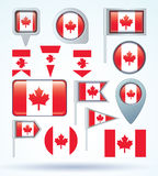 Flag collection of Canada,vector illustration. Royalty Free Stock Images