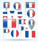 Flag collection of France, vector illustration. Royalty Free Stock Photography