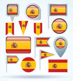 Flag collection of Spain vector illustration. Stock Image