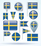 Flag collection of Sweden, vector illustration. Stock Photos