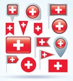 Flag collection of switzerland, vector illustration. Stock Photography