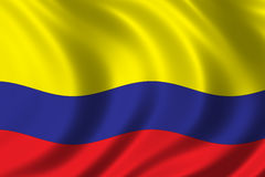 Flag of Colombia. Waving in the wind Royalty Free Stock Photography