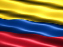 Flag of Colombia. Computer generated illustration with silky appearance and waves royalty free illustration