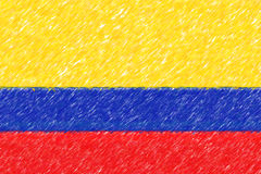 Flag of Colombia background o texture, color pencil effect. Royalty Free Stock Photography