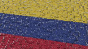 Flag of Colombia being made with jigsaw puzzle pieces. Colombian problem solution conceptual 3D rendering. Flag made of puzzle pieces, conceptual 3D royalty free illustration