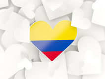 Flag of colombia, heart shaped stickers. Background. 3D illustration Royalty Free Stock Images
