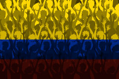 Flag of Colombia over Supporting fans. Flag of Colombia with Crowd cheering awaiting the world cup Royalty Free Stock Photography